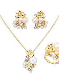 cheap -Women's Pearl / Imitation Pearl / Rhinestone Jewelry Set Rings / Earrings / Necklace - Fashion / European Jewelry Set For Wedding / Party