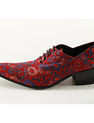cheap -Men's Formal Shoes Leather Spring / Fall Chinoiserie Oxfords Fuchsia / Wedding / Party & Evening / Novelty Shoes