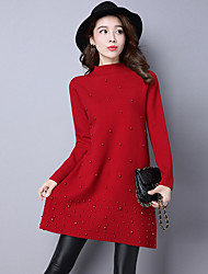 cheap -Women's Casual/Daily Simple Regular Pullover,Solid Crew Neck Long Sleeve Polyester Wool Blend Winter Fall Thick Micro-elastic