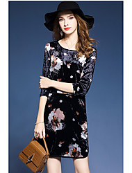cheap -Women's Daily Casual Loose Above Knee Dress,Floral Round Neck Half Sleeve Spring Fall High Waist