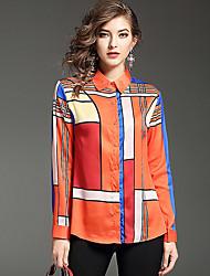 cheap -Women's Daily Casual Spring Fall Shirt,Color Block Shirt Collar Long Sleeve Polyester Medium