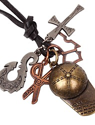 Недорогие -Муж. Ожерелья с подвесками - Крест, Ножницы Винтаж Бронзовый Ожерелье Бижутерия 1 Назначение День рождения, Подарок