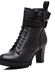 cheap -Women's Shoes Real Leather Winter Fall Basic Pump Combat Boots Boots Chunky Heel Pointed Toe Mid-Calf Boots for Casual Black