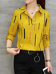 baratos -Mulheres Camisa Social - Trabalho Listrado Algodão Fibra Sintética Colarinho de Camisa