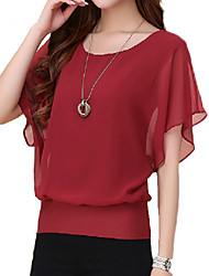 cheap -Women's Plus Size Summer T-shirt,Solid Round Neck Short Sleeves Polyester Thin
