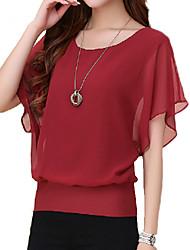preiswerte -Damen Solide Übergröße T-shirt,Rundhalsausschnitt Sommer Kurzarm Blau / Rot / Weiß / Schwarz / Lila Polyester Dünn