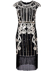 cheap -The Great Gatsby 1920s Costume Women's Dress Party Costume Masquerade Cocktail Dress Black Silver Blue Vintage Cosplay Polyster Sleeveless