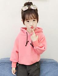 cheap -Girls' Solid Hoodie & Sweatshirt, Cotton Fall Long Sleeves Simple Blushing Pink Yellow