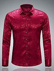 Masculino Camisa Social Casual Moda de Rua Todas as Estações,Sólido Poliéster Colarinho de Camisa Manga Comprida Opaca