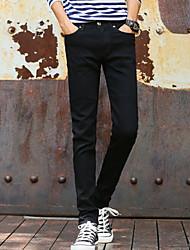 Masculino Simples Cintura Média Micro-Elástica Chinos Calças,Sólido Outono