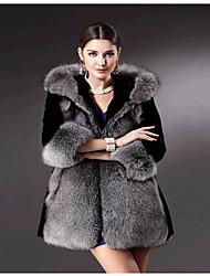 baratos -Mulheres Casaco de Pêlo Sólido, Pêlo Sintético Detalhes em Pêlo