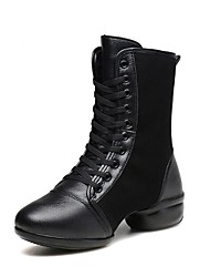 "cheap -Women's Dance Boots Synthetic Microfiber PU Boots Split Sole Outdoor Low Heel Black Black/Red 1"" - 1 3/4"""