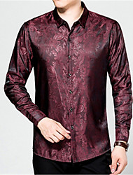 cheap -Men's Casual/Daily Vintage Shirt,Print Shirt Collar Long Sleeve Others