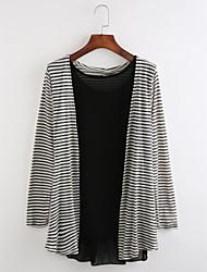 cheap -Women's Long Sleeves Long Cardigan - Striped