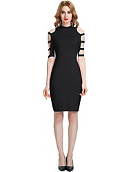 cheap -Women's Party Club Vintage Casual Sexy Bodycon Sheath Dress,Solid Stand Above Knee Half Sleeve Rayon Polyester Spandex All Season Spring