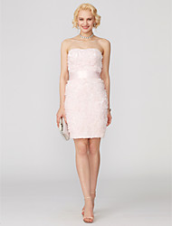 cheap -Sheath / Column Strapless Short / Mini Lace Tulle Cocktail Party Dress with Beading Sash / Ribbon Ruffles by TS Couture®