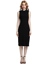 cheap -Women's Holiday Going out Vintage Casual Sexy Bodycon Sheath Dress,Solid Round Neck Knee-length Sleeveless Rayon Polyester Spandex All