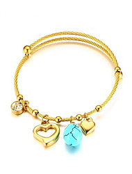 cheap -Women's Turquoise Rhinestone Gold Plated Turquoise Bangles - Gold Bracelet For Wedding Daily
