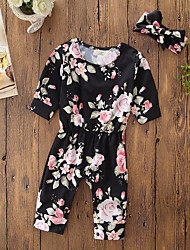 cheap -Baby Girls' Casual/Daily Going out Polka Dot Floral One-Pieces, Cotton Acrylic Fall All Seasons Simple Cute Active Long Sleeves Black