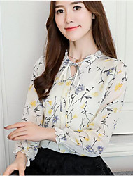 cheap -Women's Casual/Daily Work Street chic All Seasons Blouse,Floral Print V Neck Long Sleeve Polyester