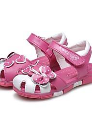 preiswerte -Mädchen Schuhe Leder Sommer Lauflern Komfort Sandalen Strass Schleife Gerafft für Normal Kleid Pfirsich
