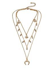 cheap -Women's Multi Layer Hypoallergenic Star Rhinestone Zircon Pendant Necklace - Casual Multi Layer Hypoallergenic Moon Star Necklace For