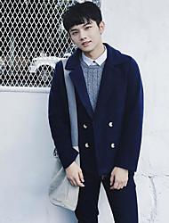 Langærmet Krave Herrer Kort Ensfarvet Vinter Simple I-byen-tøj Afslappet/Hverdag Frakke,Polyester