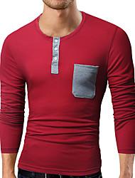 abordables -Hombre Activo Deportes Camiseta, Escote Redondo Un Color Algodón