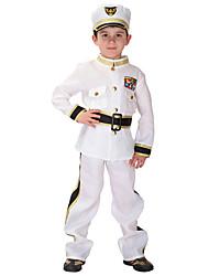 economico -Sailor Mercury Ispirazione Vintage Costume Da ragazzo Costume Bianco Vintage Cosplay Misto cotone Manica lunga Vescovo Alla caviglia