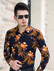 cheap -Men's Chinoiserie Cotton Shirt Print