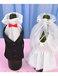 noivo de noiva noiva vestido de casamento copo de vinho conjunto de champanhe vinho brindando decoração de garrafas de vinho