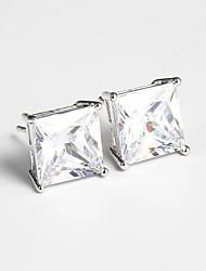 cheap -Women's Crystal Silver Plated Stud Earrings - Fashion Silver Geometric / Square Earrings For Wedding / Engagement