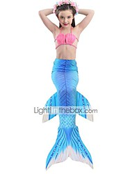 cheap -The Little Mermaid Skirt Swimwear Bikini Kid Christmas Masquerade Festival / Holiday Halloween Costumes Purple Blue Color Block
