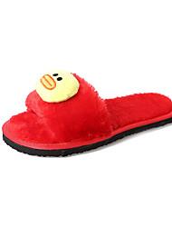 cheap -Women's Shoes Fleece Winter Comfort Slippers & Flip-Flops Round Toe for Outdoor Black Gray Red Pink