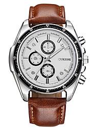 Недорогие -Муж. Кварцевый Наручные часы Китайский Крупный циферблат Кожа Группа На каждый день Мода Черный Коричневый