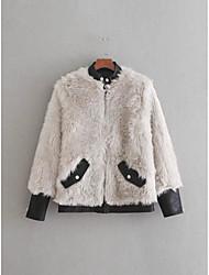 Недорогие -Жен. Пальто с мехом Воротник-стойка Однотонный Искусственный мех Полиуретановая