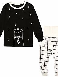 abordables -Pijama Chica Caricatura Poliéster Manga Larga Dibujos Blanco Negro
