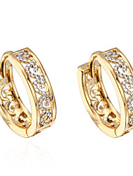 cheap -Women's Zircon / Gold Plated Hoop Earrings - Gold Earrings For Daily