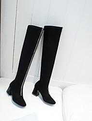 baratos -Mulheres Sapatos Courino Inverno botas de desleixo Botas Salto Robusto Dedo Apontado Carregadores coxa-alta para Casual Preto
