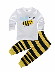 cheap -Boys' Wildlife Sleepwear, Polyester Long Sleeves Cartoon White