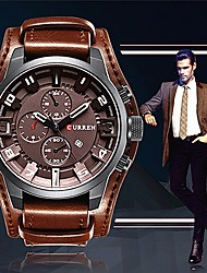 cheap -Men's Casual Watch Fashion Watch Wrist watch Chinese Quartz Large Dial Casual Watch Leather Band Casual Elegant Cool Black Orange Brown