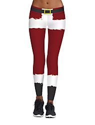 cheap -Women's Stylish Spandex Medium Print Legging,3D(random pattern) Red
