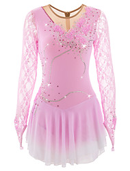 cheap -Figure Skating Dress Women's Girls' Ice Skating Dress Pale Pink Light Sky Blue Spandex Rhinestone Appliques Sequined Pearls High