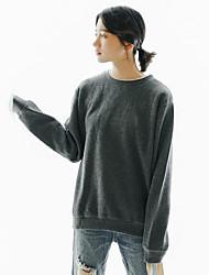 abordables -Mujer Tallas pequeñas Sudadera Casual/Diario Simple Un Color Escote Redondo Sin Forro Microelástico Poliéster Mangas largas Invierno Otoño