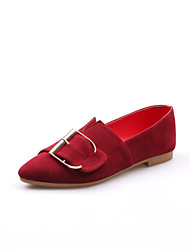 cheap -Women's Shoes PU Spring Summer Comfort Loafers & Slip-Ons Low Heel Pointed Toe for Casual Dress Black Red Dark Brown