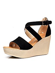 cheap -Women's Shoes Flocking Summer Gladiator Sandals Wedge Heel Peep Toe Buckle for Dress Black Green Wine
