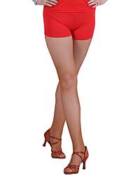 abordables -Baile Latino Pantalones y Faldas Mujer Actuación Chinlon Sin mangas Cintura Media Pantalones cortos