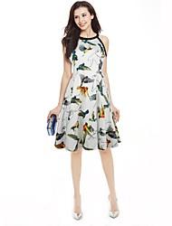 abordables -Mujer Boho Corte Swing Vestido Floral Estampado Animal