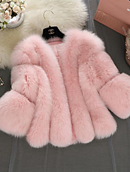cheap -Women's Going out Plus Size Faux Fur Fur Coat - Solid Colored
