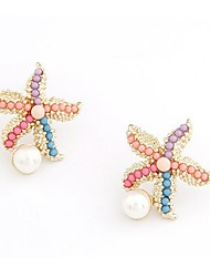 cheap -Women's Stud Earrings Cubic Zirconia Imitation Pearl Simple Lovely Imitation Pearl Zircon Alloy Starfish Jewelry For Daily Going out